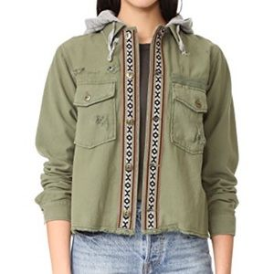Free People Cropped Hooded Army Jacket, Small
